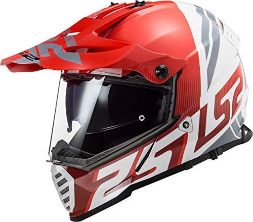LS2 Pioneer EVO Evolve Casco de Moto, Hombre, Rojo y Blanco, Medium