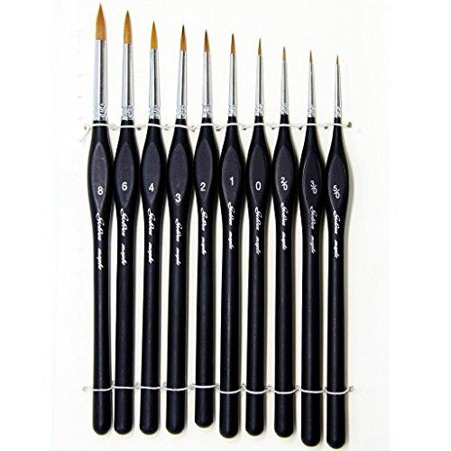 Pinceles para Pintura, 10pcs Miniatura Cepillos para Pintura de Arte Brochas Redondas de Arte Profesionales, Juego de Pinceles para Pintar al Óleo / Acrílica / Acuarela .