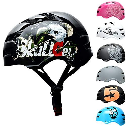 SkullCap® Casco de Skate y BMX - Bicicleta Y Scooter Eléctrico, Diseño: Eagle, Talla: L (58-61 cm)