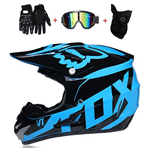Helmet Casco de Motocicleta de Cara Completa, Cascos de Motocross, Guantes de Casco de Motocicleta para Adultos, Gafas, máscara de 4 Piezas Set L (59~60CM) Azul Negro