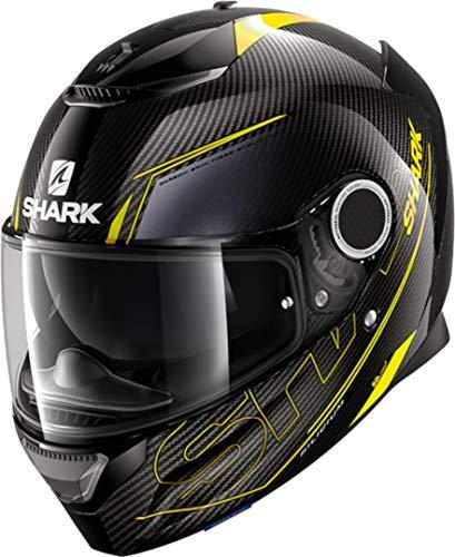 Casco de Moto Shark Spartan Carbon 1.2 Silicium DYA, Negro/Gris/Amarillo flúo, XL