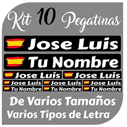 Kit 10 Pegatinas Vinilo Bandera España + tu Nombre - Bici, Casco, Pala De Padel, Monopatin, Coche, Moto, etc. Kit de Diez Vinilos (Pack Fuentes 1)