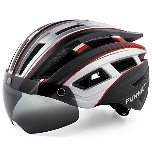 FUNWICT Casco Bicicleta Hombre Casco MTB con Gafas Magnéticas Extraíbles y Forro Interior Casco Bicicleta con Luz Trasera LED para Ciclismo 57-61 CM (Negro Plateado)