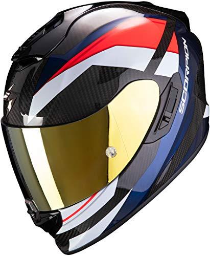 Scorpion EXO-1400 Carbon Air Casco Moto, Hombre, Rojo & Azul, XL