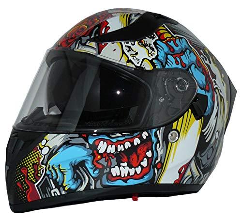 Protectwear Moto Casco Completo con Parasol Integrado y Visera Plegable V128-MU-S Integral V128-MU, Hombre, Multicolor, S