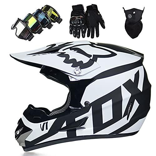 Casco Moto Niño ECE Dot Homologado Casco Motocross Infantil y Adulto (con Guantes Gafas Máscara) Carcasa ABS Casco Enduro Integral MTB con Fox Diseño, para Motocicleta Off Road BMX Quad, Blanco Negro
