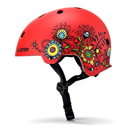 Asvert Casco Niño Infantil Unisexo Casco de Bicicleta Casconiña Casco Deportivo Tamaño S Casco de Graffiti Skateboard Ciclisimo(Rojo, S)