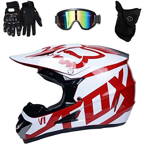 LSLVKEN Casco De Motocross Hombre Mujer Montaña Bicicleta Casco 4 Piezas Casco + Guantes + Gafas + Máscara,07,M