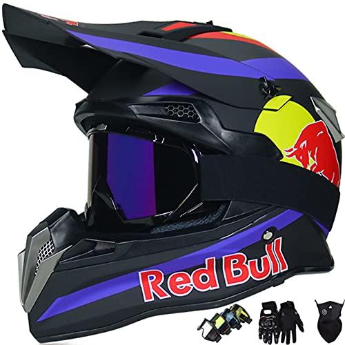 KILCVEM Casco Moto, Casco de Motocross para Niños y Adultos Casco Integral Red Bull para BMX MTB Quad Enduro ATV Scooter con Gafas Guantes Máscaras,Black- L: 59~60cm