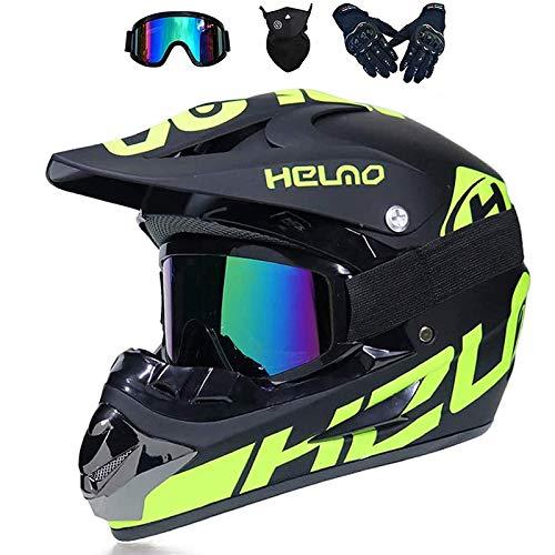 LALAGOU - Casco de motocross para niño, casco de moto, quad, casco de motocross, Full face para adulto, para MTB, ATV, con gafas, guantes, máscaras, color múltiple (A, L (56-57 cm)