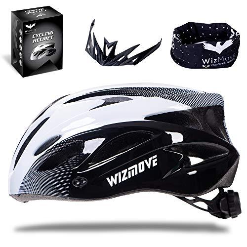 WizMove Casco Bicicleta, MTB Casco de Ciclismo Ligero con Visera, Protección Seguridad Tamaño Ajustable Ciclismo Carretera Montaña Adultos, Ajustable 54-62 (Blanco, Large)