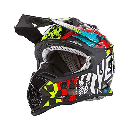 O'NEAL | Casco de Motocross | MX Enduro | ABS Shell, Estándar de Seguridad ECE 2205, Ventilación para una óptima ventilación y refrigeración | 2SRS Casco Wild Youth | Niños | Multi | Talla L