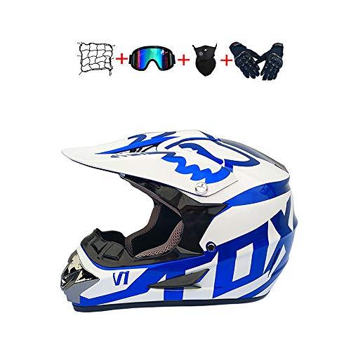 BHGJ Casco Motocross Niño,Diseñado con FOX Cascos De Motocross Cascos de Cross de Moto Set con Gafas/Máscara/Guantes(FOX,azul) (M)