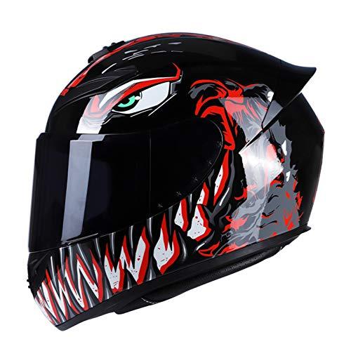 GoolRC Casco de Moto Rading Moda de Cara Completa Ligero para Carreras de Motos,Talla L