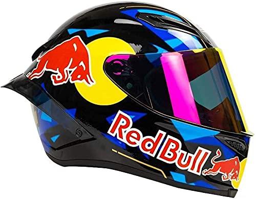 Casco De Motocicleta A Través, Casco Red Bull Full Red Bull Casco Casco De Motocicleta Certificación ECE para Motocicleta Mountain Racing Downhill Ciclismo Cachorro Completo C,M55-57CM