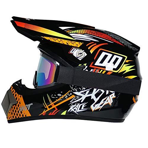 R&P Casco de motocross, para adultos, para exteriores, casco de bicicleta de montaña, de cara completa, para motocross, todoterreno, motocross, motociclismo (naranja,S)