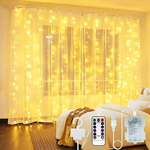 Cortina de Luces 300 LED - 3Mx3M USB y Luz de Cadena Alimentada por Batería Luces Decorativas de Hadas Luces Interiores Impermeables con 8 Modos Control Remoto para Boda Fiesta Navidad Interior