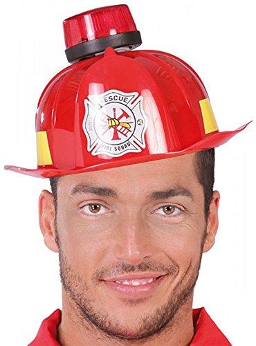 shoperama Casco de bombero con sirena, luz intermitente y sonido, accesorio para fiestas de despedida de soltero