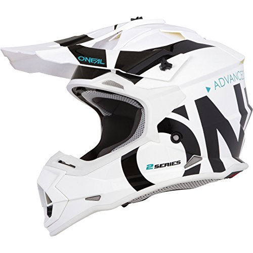 O'NEAL   Casco de Motocross   MX Enduro   Carcasa ABS, Estándar de Seguridad ECE 22.05, Ventilación para una óptima ventilación y refrigeración   Casco 2SRS Slick   Adultos   Blanco Negro   Talla M