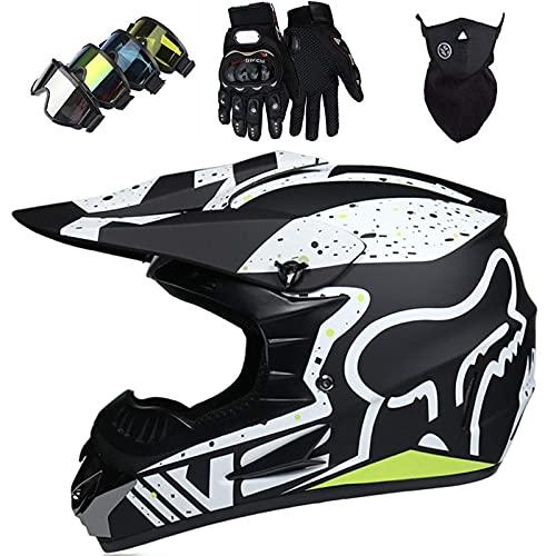 SORE Casco Moto Niño ECE Dot Homologado Casco Motocross Infantil Y Adulto (con Guantes Gafas Máscara) Carcasa ABS Casco Enduro Integral MTB con Fox Diseño, para Motocicleta Off Road,07,M