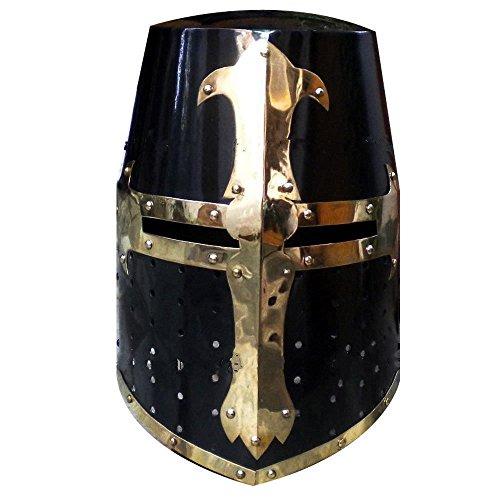 Casco medieval de Crusader Templar Knight con acabado negro en latón