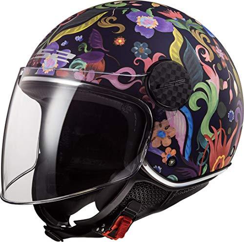 LS2 NC Casco per Moto, Hombre, Negro/Azul/Rosa, M