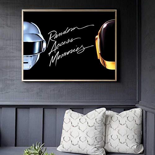 Lienzo Pintura Daft Punk Casco Máscara Música Póster e impresión Imágenes de pared para la decoración de la sala de estar Decoración del hogar 40x50cm (16x20in) Sin marco