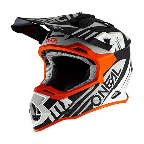 O'NEAL | Casco de Motocross | MX Enduro | Estándar de Seguridad ECE 22.05, Ventilación para una óptima ventilación y refrigeración | Casco 2SRS Spyde 2.0 | Adultos | Blanco Negro Naranja | Talla M