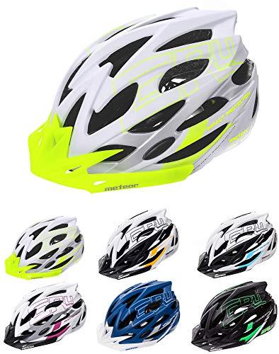 meteor Cascos Casco Bicicleta Casco Helmet Casco Bici Casco Bicicleta Adulto Skate Ciclismo Bicicleta Patineta Patines Monopatines Bici Accesorios Casco (S (52-56 cm), Blanco/Verde)