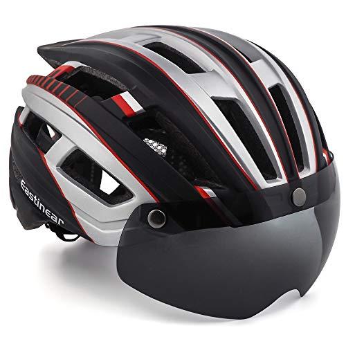 EASTINEAR Casco MTB Hombre Casco Bicicleta Ligero para Adulto con Visera Magnética Usuarios de Gafas Luz Trasera LED Amigable para Protección 57-61CM (Negro Silver)