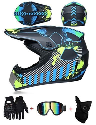 LZSH Casco de motocross para motocross, casco moto Cross Road aprobado con viser D.O.T estándar para niños, quad, bicicleta,ATV,Go Karting,casco adecuado para niños de 6 a 14 años (B,S: 52-56 cm)