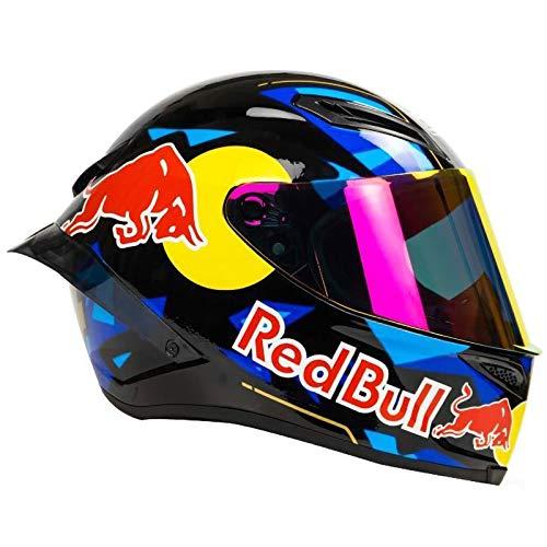 Casco de motocicleta de campo traviesa, integral Red Bull Casco de motocicleta campo traviesa Certificación ECE motocicleta de hombre Carreras montaña Ciclismo descenso Cara completa A,L (57-59cm)