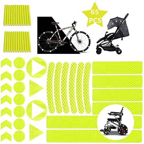 Pegatinas Reflectantes Bicicleta, Adhesivos Reflectantes, Pegatinas Reflectantes, Pegatinas Reflectantes Bici para Bicicleta/Cochecito/Casco/Moto(Blanco) (Amarillo)