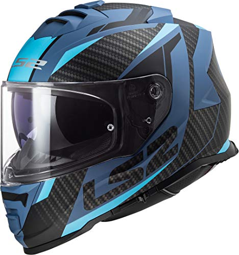 LS2 NC Casco para Moto, Hombre, Negro/Azul, Medium