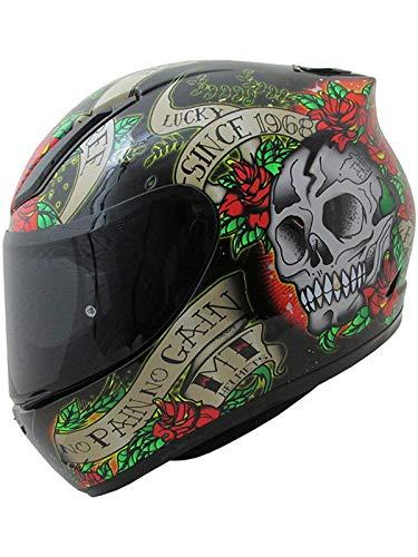 MT HELMETS Revenge Skull & Rose Gloss Black/Red XL