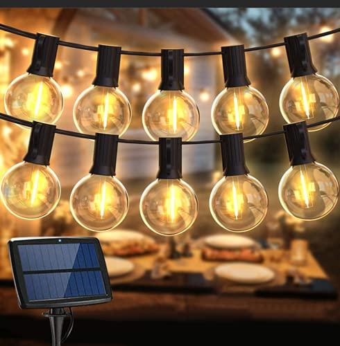 Guirnalda Luces Exterior Solar,Balippe 5.5M Cadena Luces 15+2 Bombilla de Repuesto,IP55 Impermeable 4 modos Guirnaldas Luminosas Exterior y Interior para jardín,boda,casa, fiesta,navidad