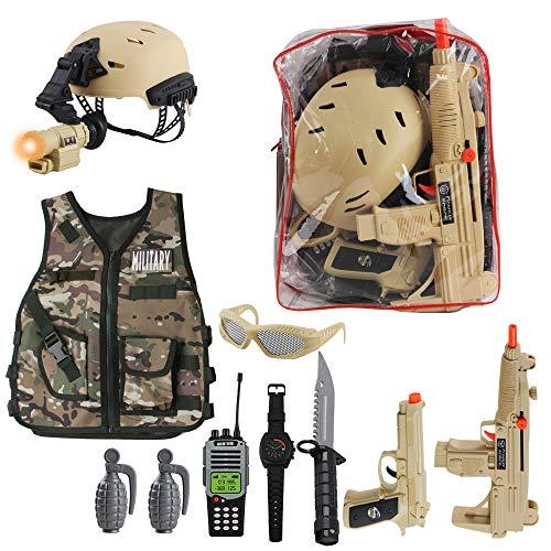 deAO Disfraz de Soldado en Combate Juego Infantil de Imitación Conjunto de Uniforme Militar Incluye Chaleco de Camuflaje, Casco, Accesorios, Armas de Juguete y Mochila para Almacenaje