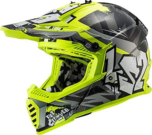 LS2 Casco Motocross MX437 Fast EVO Crusher Fluorescente, Talla S, Accesorio Unisex para Adultos, Negro Mate/Amarillo neón, Small