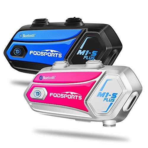 M1-S Plus Intercomunicador Casco Moto Fodsports Doble con 900mAh, CVC Reducción De Ruido,Compartir Música, Micrófono Mudo, FM, Intercomunicador 8 Jinetes De Bluetooth Moto Casco Manos Libres Moto