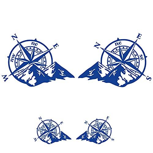 Sticker Mimo Brújula rosa de los vientos con montañas para moto, barco, coche 4 x 4, casco, caravana y caravana, pegatinas para coche Motobike (azul 10 cm)