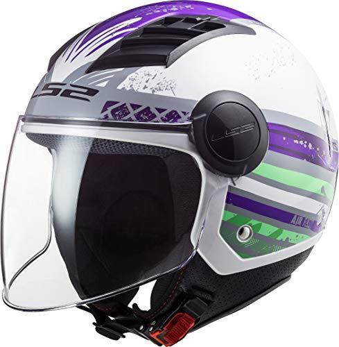 LS2, Casco jet de moto Airflow ronnie, titanio violeta, S
