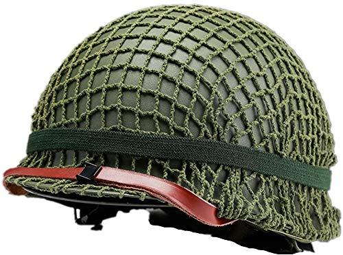N / A Casco de Acero M1 Americano de la Segunda Guerra Mundial, Casco de réplica de Equipo Militar de la Guerra Mundial con Escudo de Malla