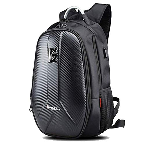 Fenglin Bolsa para casco de moto, mochila de gran capacidad, impermeable, fibra de carbono, resistencia a la abrasión, multifunción, color negro