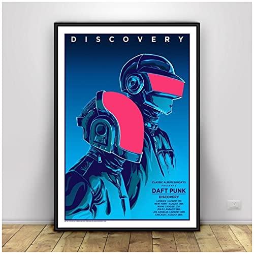 JFGJF Daft Punk Casco música póster e impresión Lienzo Arte Pintura Cuadros de Pared para decoración de Sala de Estar decoración del hogar-20X30 Pulgadas sin Marco