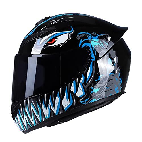 Aumotop Moto Integral Casco de Moto, Casco de Moto Rading Moda de Cara Completa, Ligero para Carreras de Motos