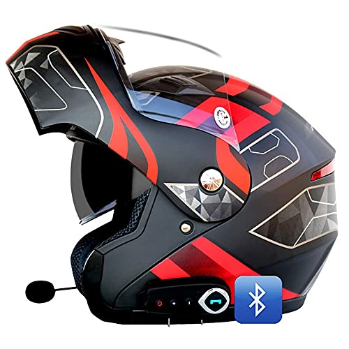Bluetooth Integrado Casco De Moto Modular, con Doble Anti Niebla Visera Cascos De Motocicleta ECE Homologado, Forro Ventilado Y Transpirable, Hebilla De 6 Segmentos