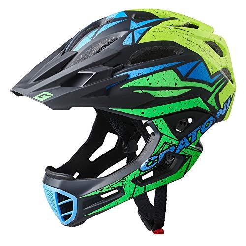 Cratoni C-Maniac Pro - Casco de bicicleta para bicicleta (54-58 cm), color negro, verde y amarillo