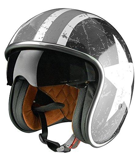 Origine Helmets Sprint Rebel Star Grey - Casco Abierta, Blanco/Gris, M (57-58 cm)