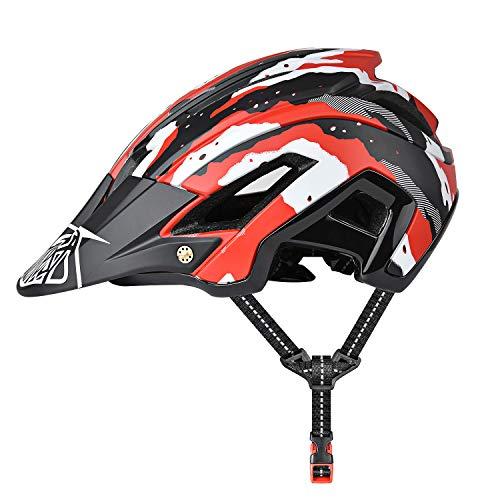 Casco de Ciclismo, 300g 56-60cm Casco Ligero de Bicicleta de Montaña con Visera Desmontable, Ajuste Ajustable, 15 Vetns MTB Asco para Hombres y Mujeres Adultos, Rojo + Negro …