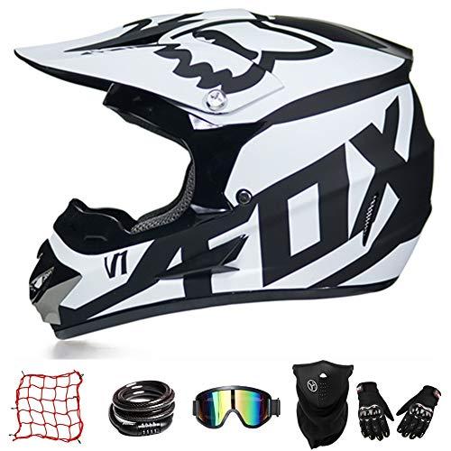 Casco De Moto De Cross-Country ZYLH, Casco De Cross con Gafas, Casco para Jóvenes, Casco De Cross para Niños, Casco De Descenso para Niños, Protección Facial Combinada (M(55-56cm)